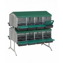 16 Compartment, 2 Tier, Double Side Rollaway Nestboxes.