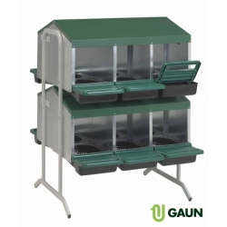 12 Compartment, 2 Tier, Double Side Rollaway Nestboxes.