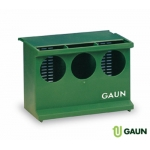 Plastic green pigeon feeder with 3 holes.