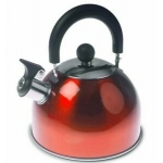 2 Litre Metallic Red Stainless Steel Whistling Kettle.