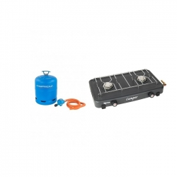 Double Gas Hob with Hose, Reg & Full 907 Cylinder
