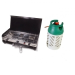 Cucina Double Burner & Grill Camping Cooker With Full 10Kg Gaslight Cylinder.