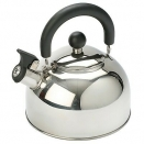 2 Litre Silver Stainless Steel Whistling Kettle. Kampa Polly.